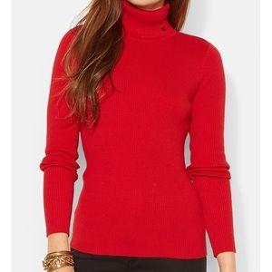 NWT Ralph Lauren Rib Knit Red Turtleneck Sweater